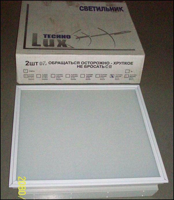 TECHNOLUX | ЛВО 4х18 стекло  растровый белый встраив светильник TLC 418 OL TECHNOLUX 595*595